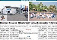 HTV entwickelt weltweit einzigartige Verfahren